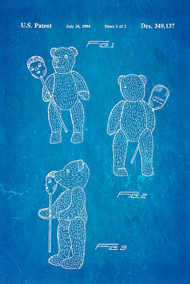 Teddy Bear And Mask Patent Art 1994 Blueprint Poster by Ian Monk