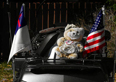 Teddy Bear Ridin' On Poster by Christine Till