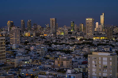 Tel Aviv At The Twilight Magic Hour Poster by Ronsho