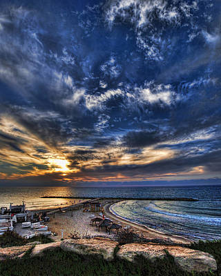 Tel Aviv Sunset At Hilton Beach Poster by Ron Shoshani