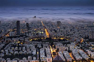Tel Aviv Under Fog  Poster by Ronsho