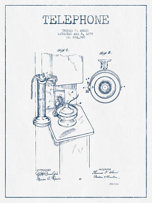Telephone Patent Drawing From 1898  - Blue Ink Poster by Aged Pixel