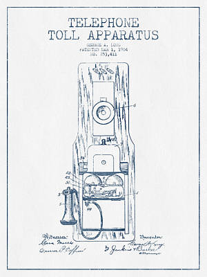 Telephone Toll Apparatus Patent Drawing From 1904 - Blue Ink Poster by Aged Pixel