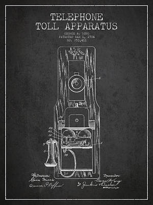 Telephone Toll Apparatus Patent Drawing From 1904 - Dark Poster by Aged Pixel