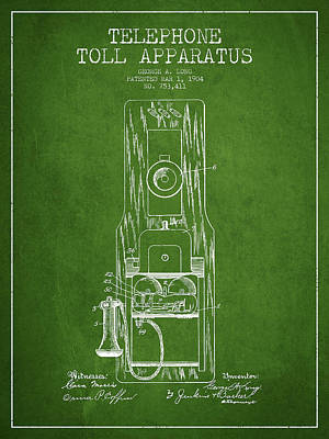 Telephone Toll Apparatus Patent Drawing From 1904 - Green Poster by Aged Pixel