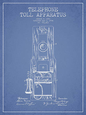 Telephone Toll Apparatus Patent Drawing From 1904 - Light Blue Poster by Aged Pixel