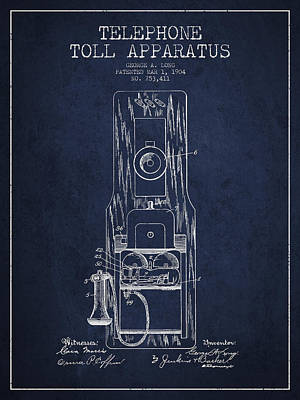 Telephone Toll Apparatus Patent Drawing From 1904 - Navy Blue Poster by Aged Pixel