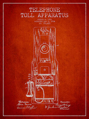 Telephone Toll Apparatus Patent Drawing From 1904 - Red Poster by Aged Pixel