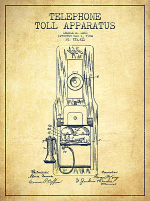 Telephone Toll Apparatus Patent Drawing From 1904 - Vintage Poster by Aged Pixel