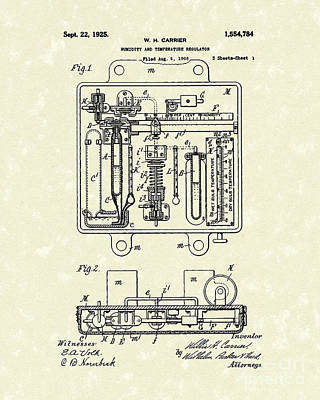 Temperature Regulator 1925 Patent Art Poster by Prior Art Design