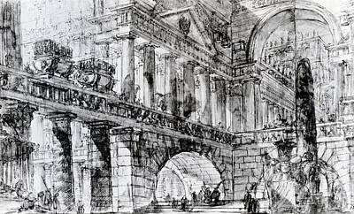 Temple Courtyard Poster by Giovanni Battista Piranesi