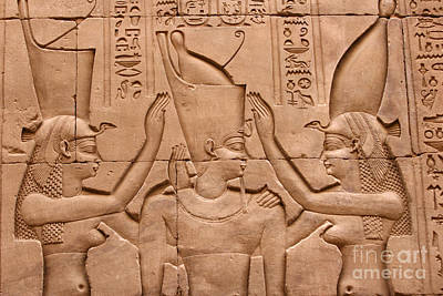 Temple Of Horus Relief Poster by Stephen & Donna O'Meara