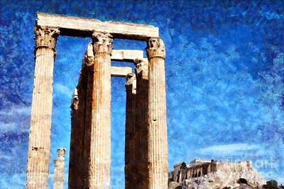 Temple Of Olympian Zeus And Acropolis Poster by George Atsametakis
