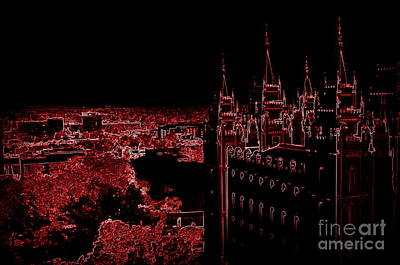 Temple Square In Red Poster by Kathleen Struckle