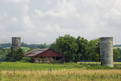 Tennesse Barn And Silos Poster by Kathy Clark