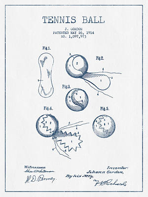 Tennnis Ball Patent Drawing From 1914  -  Blue Ink Poster by Aged Pixel