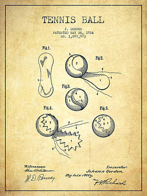 Tennnis Ball Patent Drawing From 1914 - Vintage Poster by Aged Pixel