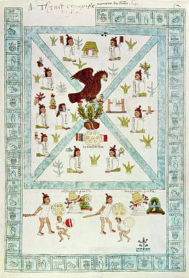 Tenochtitlan (mexico City) With Aztec Poster by Granger