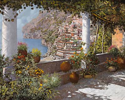 terrazza a Positano Poster by Guido Borelli