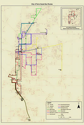 Terre Haute Indiana Bus Routes Map Poster by Mountain Dreams