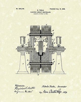 Tesla Electric Circuit 1898 Patent Art Poster by Prior Art Design