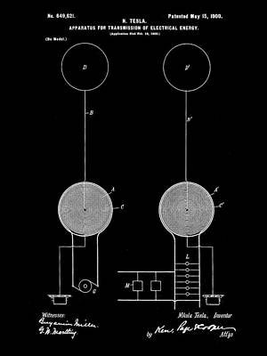 Tesla Electric Transmission Patent 1900 - Black Poster by Stephen Younts