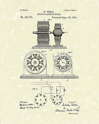 Tesla Motor 1891 Patent Art Poster by Prior Art Design