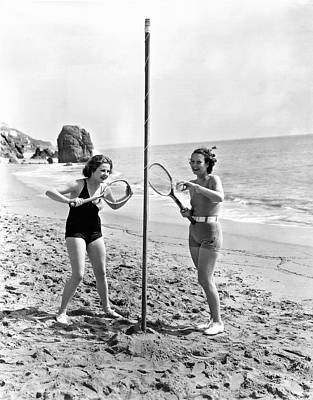 Tetherball On The Beach Poster by Underwood Archives