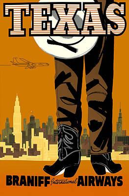 Texas Braniff Intl Airways Poster by Mark Rogan