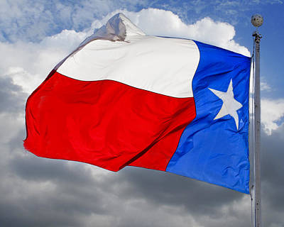 Texas Flag Waving In The Breeze Poster by David and Carol Kelly