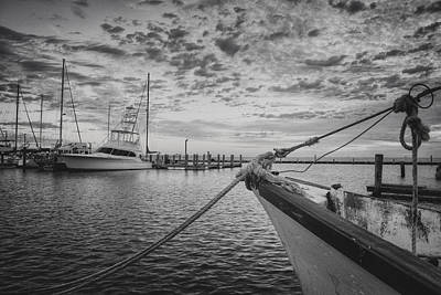 Texas Gulf Coast Images  Boats Of Rockport 4 Black And White Poster by Rob Greebon