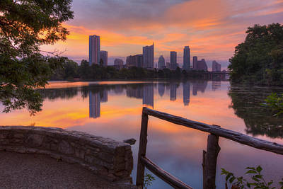 Texas Images - Lou Neff Point And The Austin Skyline Poster by Rob Greebon