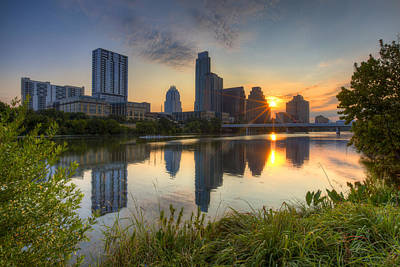 Texas Images - Austin Skyline At Sunrise From Zilker Park Poster by Rob Greebon