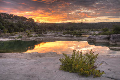 Texas Landscape Images - Pedernales Falls State Park August Sunr Poster by Rob Greebon