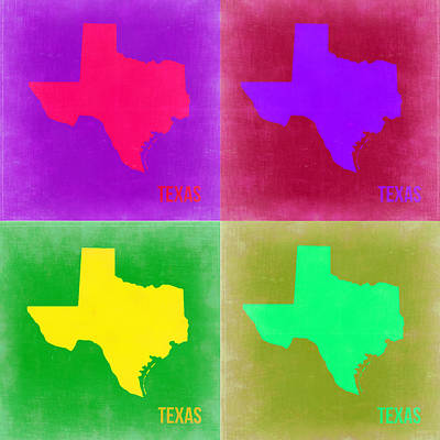 Texas Pop Art Map 2 Poster by Naxart Studio