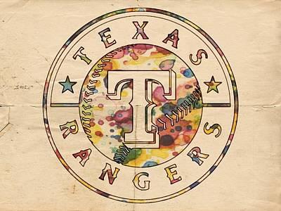 Texas Rangers Poster Vintage Poster by Florian Rodarte