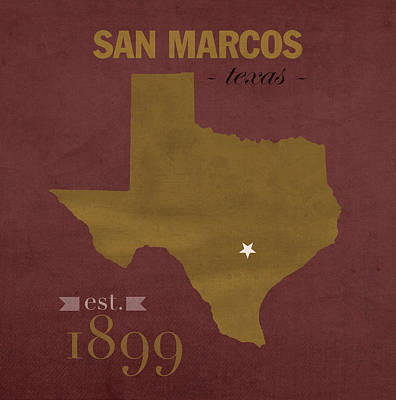 Texas State University Bobcats San Marcos College Town State Map Pillow Poster by Design Turnpike