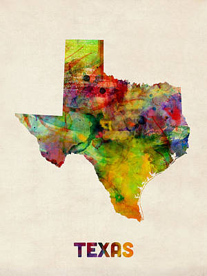 Texas Watercolor Map Poster by Michael Tompsett