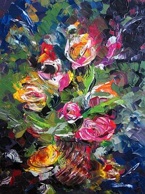 Textured Roses Painting Poster by Mario Perez