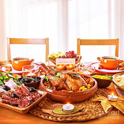 Thanksgiving Day Dinner Poster by Anna Omelchenko