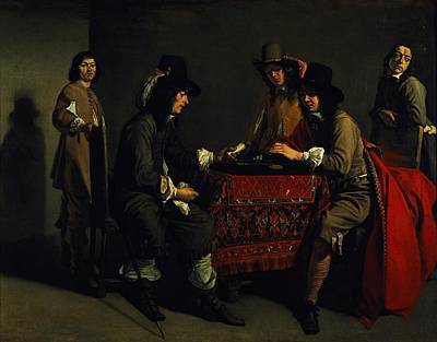 The Backgammon Players Oil On Canvas Poster by Antoine and Louis Le Nain