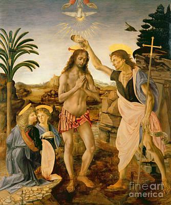 The Baptism Of Christ By John The Baptist Poster by Leonardo da Vinci