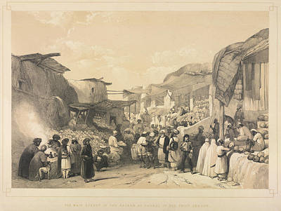The Bazaar At Caubul Poster by British Library