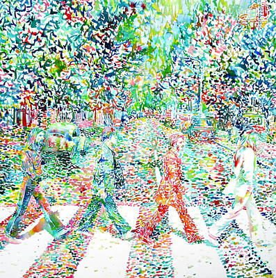 The Beatles Abbey Road Watercolor Painting Poster by Fabrizio Cassetta