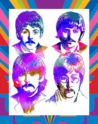 The Beatles Art Poster by Robert Korhonen