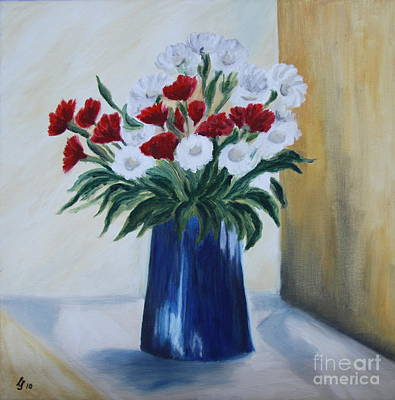 The Blue Vase - Oil Painting Poster by Christiane Schulze Art And Photography