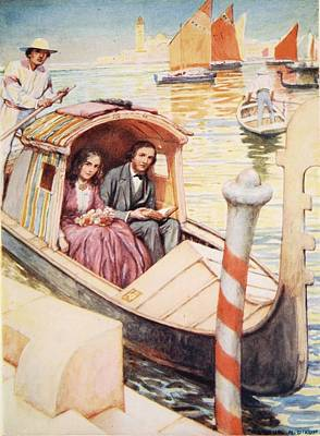 The Brownings In Venice Poster by Arthur A. Dixon