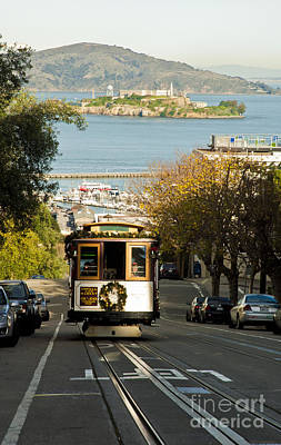 The Cable Car And Alcatraz Poster by Micah May