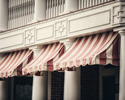 The Cafe Awnings At Chautauqua Institution New York  Poster by Lisa Russo