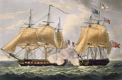 The Capture Of La Clorinde Poster by Thomas Whitcombe
